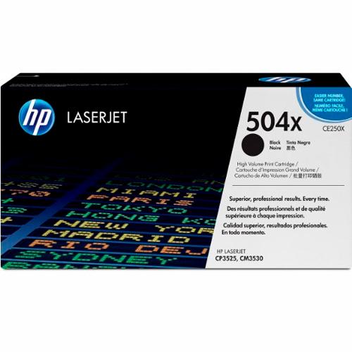 TONER HP CE250X (504X) L.J. CP3525 Color: Negro, Compatibilidad: HP COLOR LASERJET CP3525/CM3530, Rendimiento: 10500 páginas.