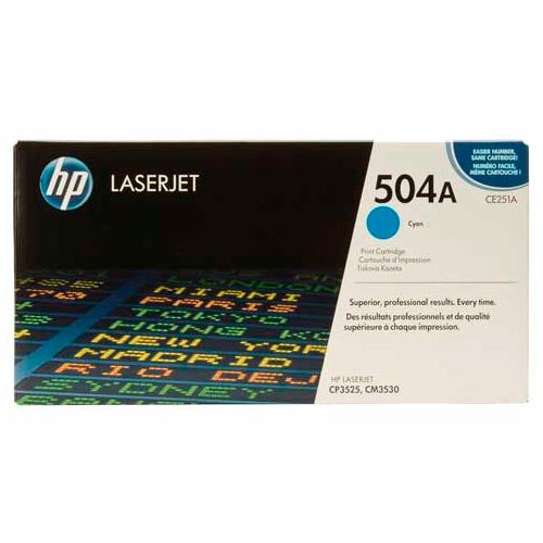 TONER HP CE251A (504A) L.J. CP3525 Color: Cian, Compatibilidad: HP LASERJET CP3525, Rendimiento: 7000 páginas.