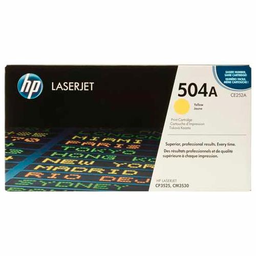 TONER HP CE252A (504A) L.J. CP3525 Color: Amarillo, Compatibilidad: HP LASERJET COLOR CM3530/CP3525, Rendimiento: 7000 páginas.