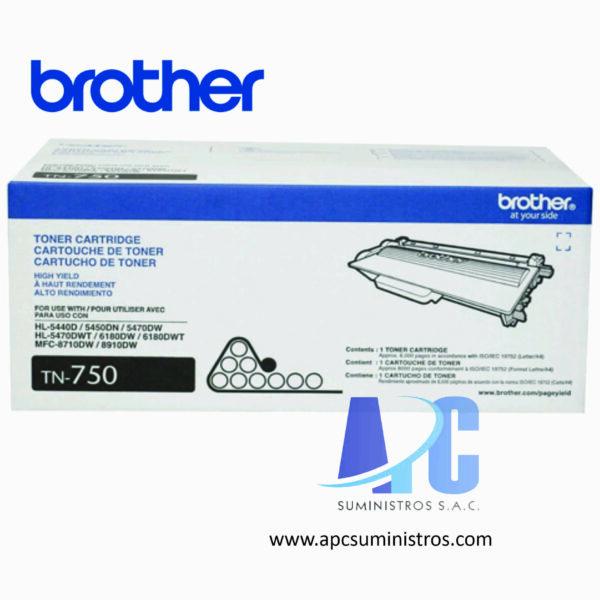 TONER BROTHER TN-750 Tóner para HL5450DN / HL5470DW / HL6180DW /DCP8155DN/MFC8910DW/ MFC8950DW. Rendimiento 8,000 pág. color negro