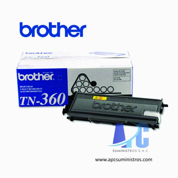 TONER BROTHER TN-360 Tóner para HL2140, HL2170W, MFC 7840W, MFC7440N, DCP7040. Rendimiento 2,600 páginas color negro