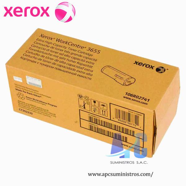 TONER XEROX 106R02741Color: Negro, Compatibilidad: WorkCentre 3655, Rendimiento: 25,900 PAGS, Medidas: 30.6 x 12.3 x 12.3 cm, Peso: 0.0045 kg.