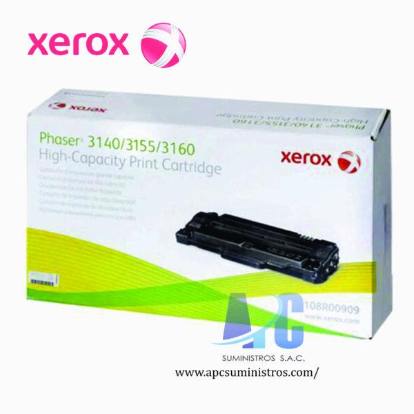 TONER XEROX 108R00909 Color: Negro, Compatibilidad: Xerox Phaser 3140/ 3160, Rendimiento: 2500 página