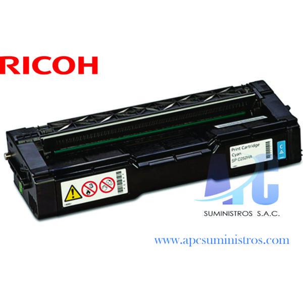 TONER RICOH 407654 Compatibilidad: Ricoh SP C252DN/C262DN, Color: Cyan, Rendimiento: 6,000 Paginas