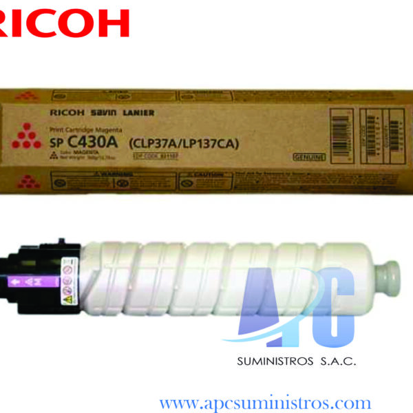 TONER RICOH 821107 SP C430A COLOR MAGENTA RENDIMIENTO 15,000 Paginas