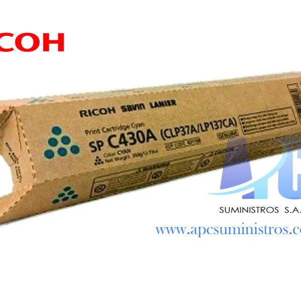 TONER RICOH 821108 SP C430A COLOR CYAN RENDIMIENTO 15,000 PAGINAS