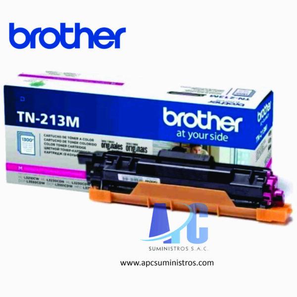 TONER BROTHER TN-213M color Magenta para Impresoras Brother P/HLL3270CDW/DCPL3551CDW/MFCL3750CDW con rendimiento de 1300 Paginas