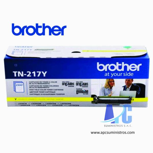 TONER BROTHER TN-217Y de color Yellow (amarillo) compatibles para HL-L3270CDW, DCP-L3551CDW, MFC- L3750CDW con rendimiento de 2300 Paginas.